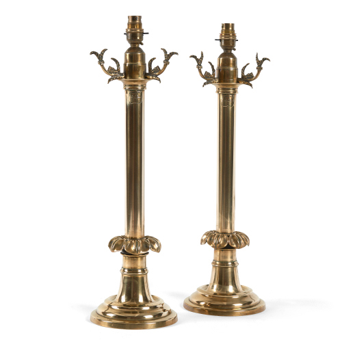 A pair of Victorian brass table lamps - ref 476